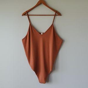 BP Brown V Neck Camisole Thong Bodysuit 3XL